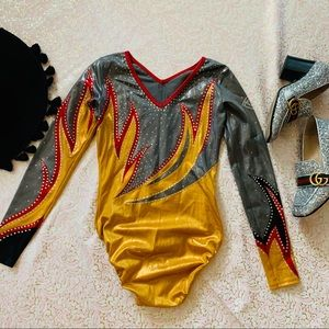 Vtg 80s Ring of Fire RARE Spandex Bodysuit XS SM